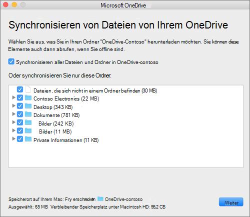Screenshot des Menüs OneDrive auswählen, welche Ordner oder Dateien synchronisiert werden.