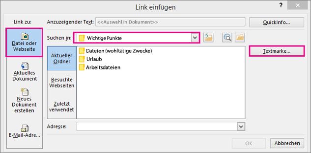Zeigt ein Dialogfeld, in dem die Option zum Einfügen eines Links zu einer anderen Datei ausgewählt ist
