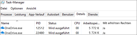 Screenshot des Task-Managers mit OneDrive. exe
