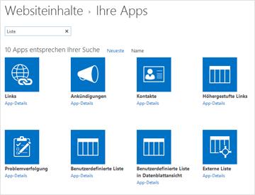 """Abbildung von """"Websiteinhalte"""" – Ihre Apps"""