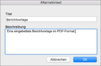 Hinzufügen von Alternativtext zu eingebetteten Dateien in OneNote für Mac
