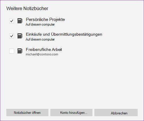 Screenshot des Fensters weitere Notizbücher in OneNote