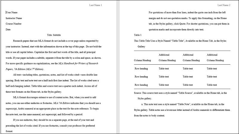Screenshot der Abdeckung einer MLA-Papiervorlage