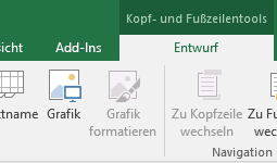 Excel-Entwurfssymbolleiste