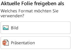 """""""Format""""-Optionen für die Freigabe einer Folie in PowerPoint für Android"""