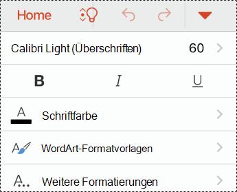 """Menü """"Schriftart"""" in PowerPoint für IOS."""