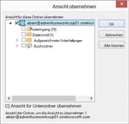 Screenshot des Dialogfelds Ansicht übernehmen in Outlook, in dem Sie die Ordner auswählen können, die Sie einen anderen Ordner die Ansicht anwenden möchten. Wenden Sie beispielsweise eine Ansicht, die im Lesebereich deaktiviert.