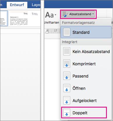 """Auf der Registerkarte """"Entwurf"""" ist unter """"Absatzabstand"""" die Option """"Doppelt"""" hervorgehoben."""