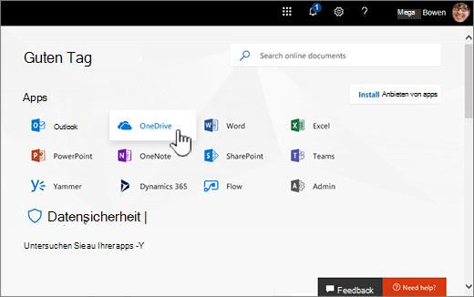 Office 365-Startseite mit OneDrive SELECT-Anweisung