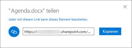 """Screenshot: Kopieren eines Links aus dem Dialogfeld """"Freigeben"""" nach Auswahl der Option """"Link abrufen"""""""