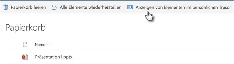 """OneDrive Papierkorb mit der Option """"Persönliche Tresor-Einträge anzeigen"""""""