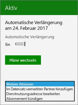 """Screenshot des Menüs """"Weitere Aktionen"""" auf einer Abonnementkarte im Admin Center."""