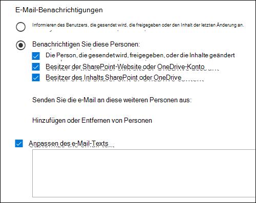 Optionen für die e-Mail-Benachrichtigung