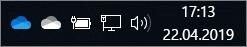 OneDrive-Synchronisierungsclient mit blauem und weißem Cloudsymbol