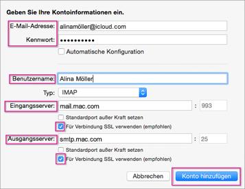 Konfigurieren von iCloud-E-Mail in Outlook 2016 für Mac