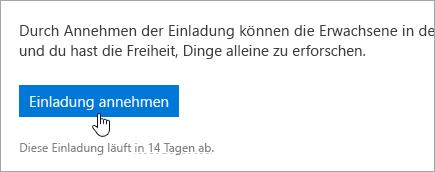 """Screenshot der Schaltfläche """"Annehmen"""" in der Einladungs-E-Mail."""