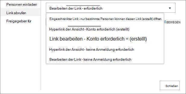 "Dialogfeld ""Link abrufen"""