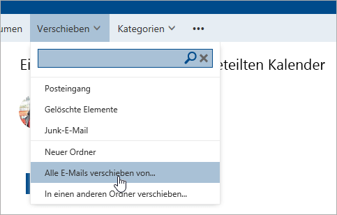 """Screenshot der Option """"Alle E-Mails verschieben von"""""""