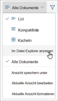 "Menü ""Alle Dokumente"" mit hervorgehobener Option ""In Datei-Explorer öffnen"""