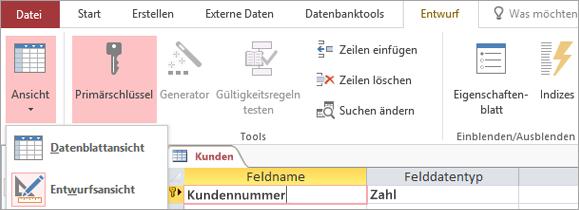 Wechseln im Tabellen-Designer zwischen Datenblattansicht und Entwurfsansicht