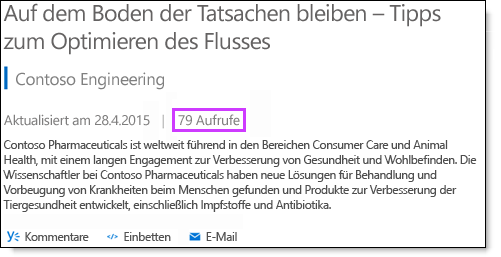Office 365 Video-Statistik Abrufe
