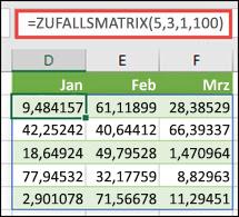 Zufalls Matrix-Funktion mit min-, Max-&-Dezimal Argumenten
