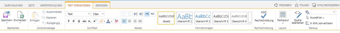 Screenshot der Registerkarte 'Text formatieren' mit zahlreichen Schaltflächen zum Formatieren von Text