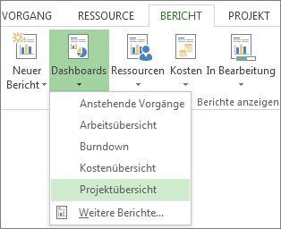 Menü 'Dashboard' auf der Registerkarte 'Bericht'