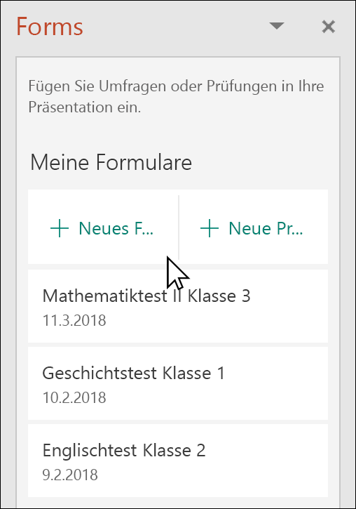 Microsoft Forms-Bereich in PowerPoint