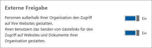 "Screenshot der im Admin Center aktivierten Option ""Externe Freigabe""."