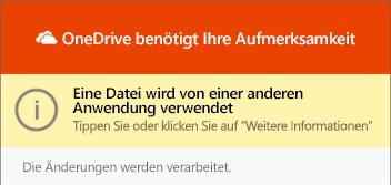 """OneDrive-Dialogfeld """"Datei wird verwendet"""""""