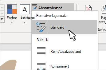 Standard unter Formatvorlagensatz ausgewählt