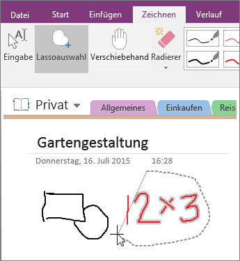 Screenshot: Verwenden der Schaltfläche 'Lassoauswahl' in OneNote 2016