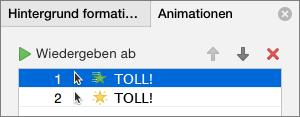 Im Eigenschaftenbereich Animationsoptionen festlegen