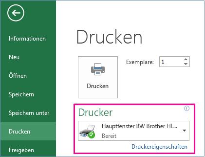 """Suchen Sie im Dropdownmenü """"Drucker"""" den Drucker, den Sie verwenden möchten."""