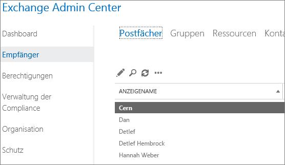 Suchen von Postfächern im Exchange Admin Center zum Beheben von DSN 5.7.134