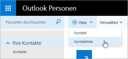 """Ein Screenshot des Kontextmenüs für die Schaltfläche """"Neu"""", wobei die Option """"Kontaktliste"""" ausgewählt ist."""