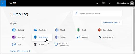 Office 365-Startseite mit SharePoint ausgewählt