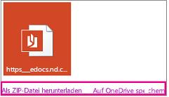 """E-Mail mit Anlage Links """"Herunterladen"""" und """"In OneDrive speichern"""" hervorgehoben"""