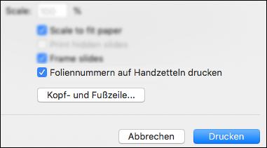 """Das Dialogfenster """"Drucken"""" mit der Option """"Foliennummern auf Handzettel drucken"""" wird angezeigt."""