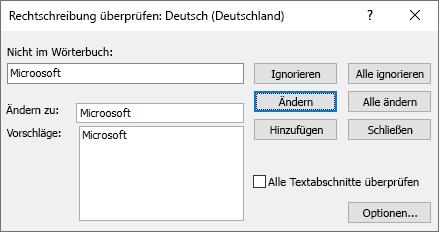 Screenshot des Dialogfelds ' Rechtschreibung prüfen ' in Publisher