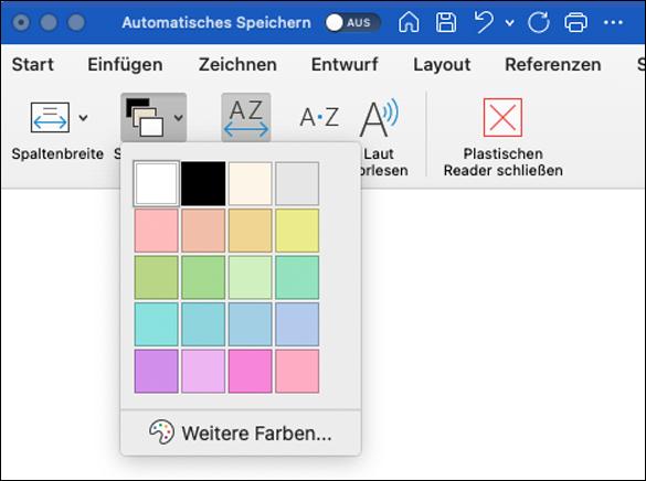 Seitenfarboptionen für Plastischer Reader, die in Word für Mac angezeigt sind