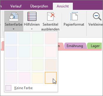 Screenshot der Schaltfläche ' Seitenfarbe ' in OneNote 2016.