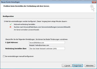 """Dialogfeld """"Neues Konto hinzufügen"""": Konto kann nicht konfiguriert werden"""
