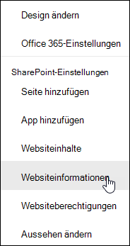 Link zu SharePoint-Website Informationen