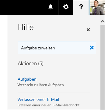 """Screenshot des Planner-Bereichs """"Hilfe"""" mit """"Aufgabe zuweisen"""" im Feld """"Was möchten Sie tun?"""""""