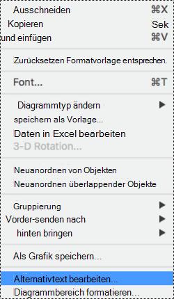 Kontextmenü für Diagramme mit Alt-Text-Option aktiviert.