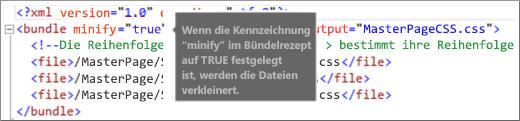 """Screenshot der auf """"true"""" festgelegten Minify-Kennzeichnung"""