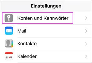 """""""Geräteeinstellungen"""" > """"Konten und Kennwörter"""""""