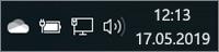 Weißes OneDrive-Symbol in der Taskleiste